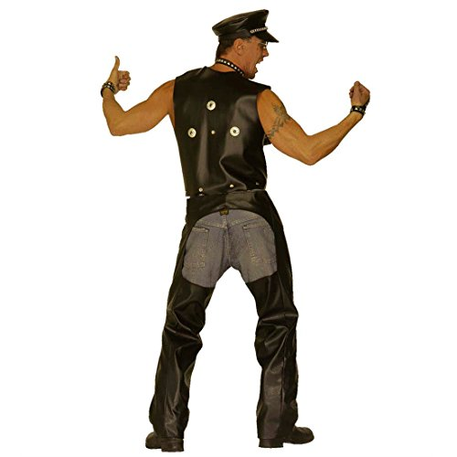 Biker Chaps Hose Rocker Bikerhose M/L (50 bis 52) Motorrad Lederchaps Imitat Fasching Motorradhose Village People Hardrock Kunstlederhose Striptease Mottoparty Accessoires Karneval Kostüm Zubehör