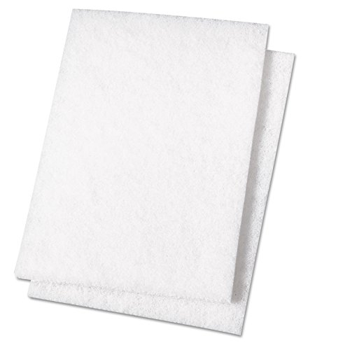 Light Duty Scour Pad, White, 6 x 9, 20/Carton, Sold as 1 Carton (Scour White Pads)