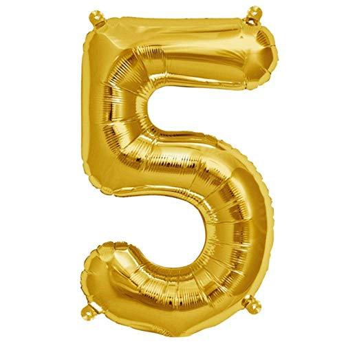 Folienballon Gelb-Gold | Zahl 5 | Ballon für Luft und Helium | XL 70 x 15 cm | Geburtstag Hochzeitstag Jubiläum Geschenk Abschluss Party Überraschung