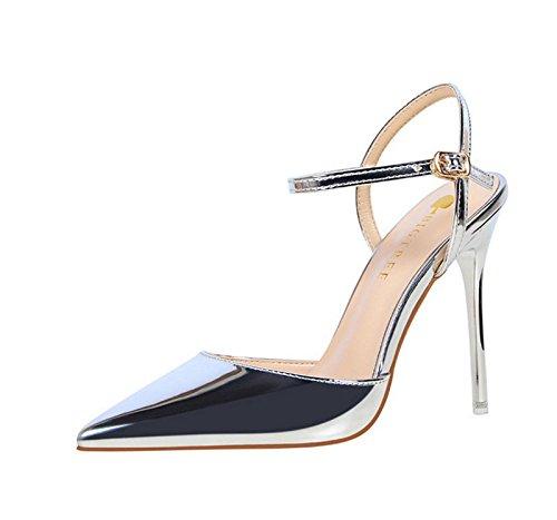 XINJING-S Schnalle High Heels Schuhe Party Hochzeit Frauen Pumps Heels OL Kleidung Schuhe Sandalen Silber