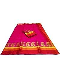 SAREE MALL Silk Cotton Saree With Blouse Piece(saree 3AURA1001_N2_Pink_Free Size)