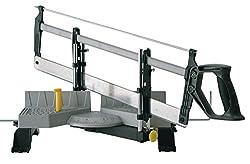 Stanley automatische Gehrungslade aus Metall mit Säge - Feinsäge mit Universalsägeblatt 13 Zähne/Zoll - 30, 45, 60 & 90° Winkel - 1-20-800