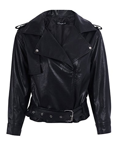 Simplee Apparel Damen Jacke Herbst Winter Elegant Cusual PU Leather Jacke Kurz Jacket Mantel Übergansjacke mit Gürtel Schwarz