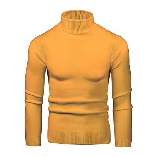 YIHANK Herren Strickpullover Einfarbig Rollkragenpullover Langen Ärmeln Günstig Pullover Mehrere Farben und Größen