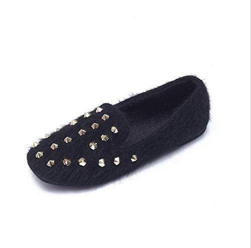 Scarpe da donna, stivali da donna, rivetti, scarpe di peluche, più cashmere, fondo confortevole e morbido, scarpe con cucchiai di fagioli black