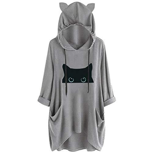 PYUIYY Frauen 3/4 Ärmel Print Katze und Tasse Ohr Hoodie Tasche Lässige Print Katze Ohr Kapuzen Shirt Langarm Tasche Unregelmäßige Bluse Top -