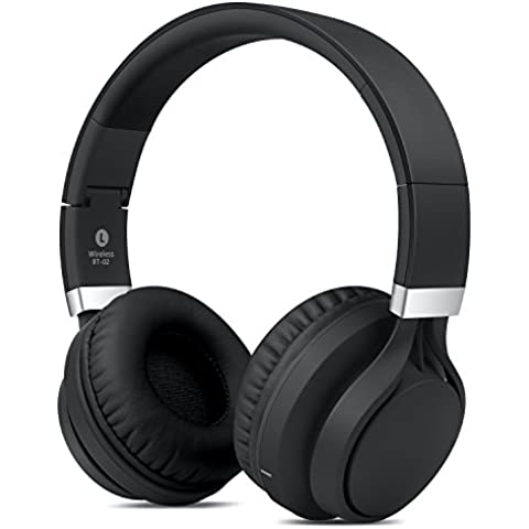 Over-Ear Auricolari, Ailina Cuffie Wireless Bluetooth CSR 4.0 pieghevole stereo incorporato microfono, Black