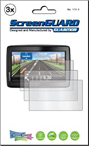 3x Tomtom Via 135 UK & Ireland GPS Sat Nav Premium Clear LCD Screen Protector Cover Guard Shield Film Kit, No cutting (3 Pieces by GUARMOR)