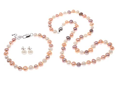 TreasureBay FAB Multi-Coloured Pink White and Grey freshwater Pearl Necklace,