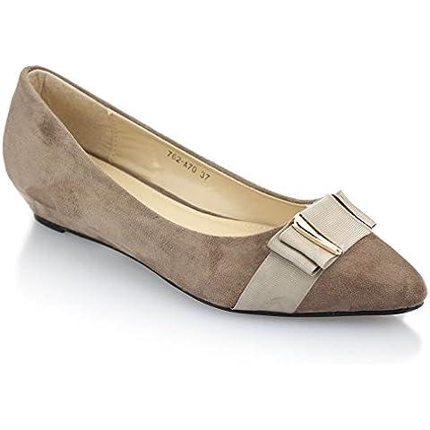 Aarz mujeres casual de las señoras Comfort Cuña Zapatos de tacón del talón de la bomba Tamaño (Negro, Caqui, Azul Marino)