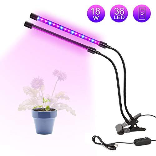LED Doppelkopf Pflanzenlampe, GLIME 18W dimmbare Pflanzenleuchte, 360 Grad einstellbar Wachstumslampe, Flexible Pflanzenlichter für Zimmerpflanzen Hydroponik Gewächshaus Gartenarbeit