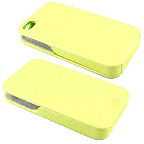 ebestStar - pour Apple iPhone 4S, 4 - Etui Rabat Revêtement Carbone + Stylet tactile + 3 Films protection écran, Couleur Blanc [Dimensions PRECISES de votre appareil : 115.2 x 58.6 x 9.3 mm, écran 3.5 Dorrée