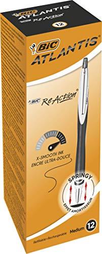 BIC ReAction - Caja de 12 unidades, bolígrafos rectráctiles punta media (1,0 mm), color azul