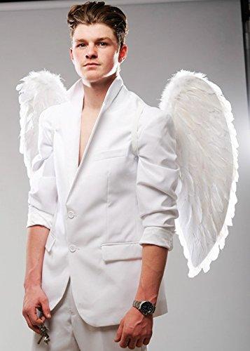 Magic Box Int. Große weiße Feder-Engels-Flügel der Männer (Engel Kostüm Männer Für Flügel)