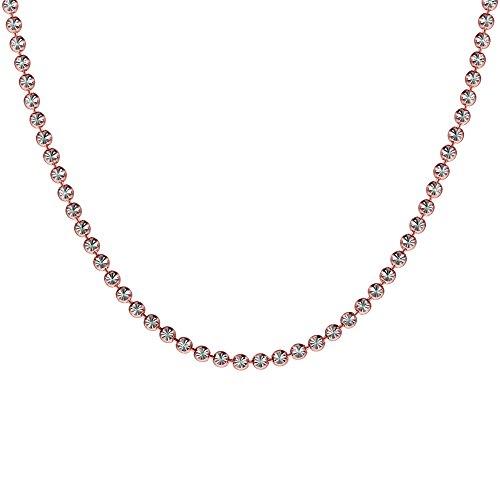 Verstellbare Länge Halskette: 40 bis 43 cm Rosa Vergoldung Sterling Silber 925 Diamant Pellets -