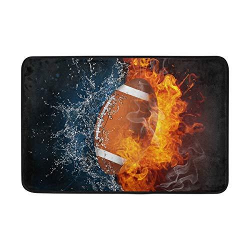 LUPINZ Fußmatte American Football im Feuer und Wasserbereich, Fußmatte, 59,9 x 39,9 cm, rutschfest, waschbar, verschleißfest