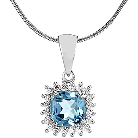 Ciondolo in argento con blu topazio SILVEGO, quadrato