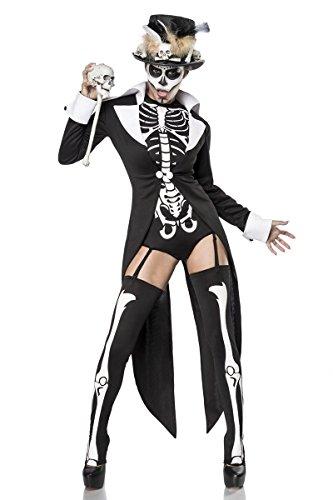Fasching-Kostüm `Voodoo Priestess` by MASK PARADISE - Set: Frack, Body, Stulpen, Strapsbänder, Zylinder, Hutband, Zepter - A80079, Größe:38;Farbe:schwarz