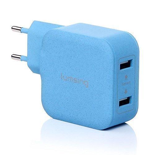 Lumsing® Caricabatterie caricatore da parete muro USB 2 porte 5V 3.4A Adattatore universale UE per iPhone, iPad, iPod, Samsung Galaxy, HTC e altri Dispositivi USB ( Blu )