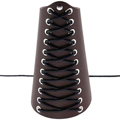 WFZ17 - Brazalete Unisex de Piel sintética para antebrazo, Color Dark Coffee, tamaño Talla única