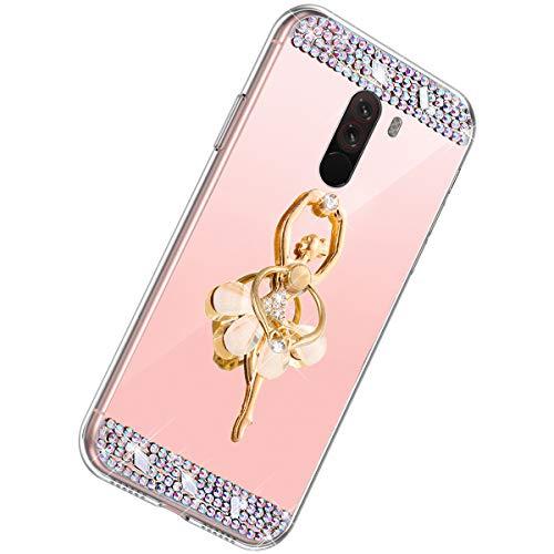 Herbests Kompatibel mit Xiaomi Pocophone F1 Hülle Glitzer Mädchen Schuzhülle Spiegel Bling Strass Diamant Blumen Transparent TPU Silikon Handyhülle Tasche Ring Halter Ständer,Rose Gold