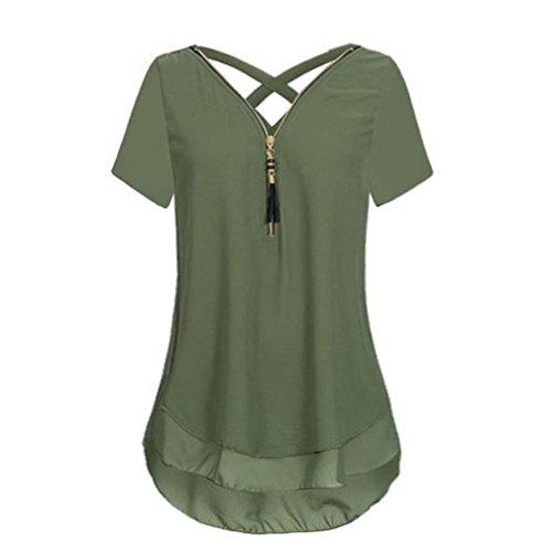 VJGOAL Womens Summer Loose Chiffon Short Sleeve Tank V-Neck Zipper Back Cross Hem Scoop T Shirts Tops Blouse