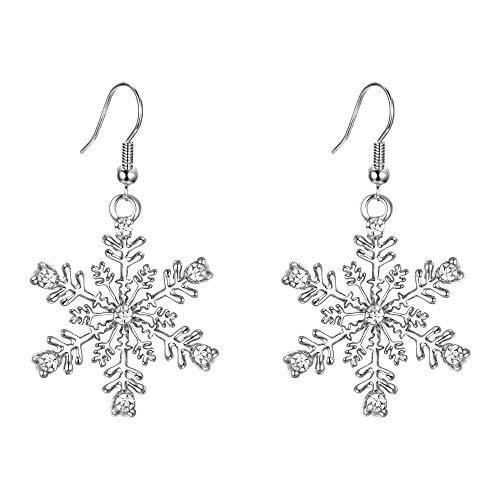 EVER FAITH® österreichischen Kristall Schneeflocke elegant Anhänger Ohrring Haken Silber-Ton N04569-1 - Kristall-schneeflocke