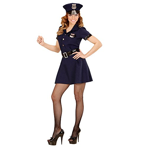 Widmann 49082 - Erwachsenenkostüm Polizistin, Kleid, Gürtel, Hut, Handschellen und Walkie-Talkie, Größe (Kostüm Ermittler Die)