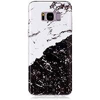 BONROY Samsung Galaxy S8 Marmor Hülle, Silikon Handyhülle Schlank TPU - (YH-Schwarz-Weiß-Marmor)