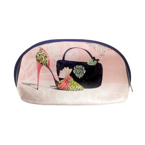 Art Shopping - Trousse Année Folle fond rose motif escarpin 22x8x12cm