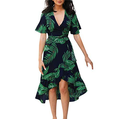 FRAUIT Damen Boho Druckt Kleid Spitze V-Ausschnitt Sommerkleider Kurzarm Freizeitkleider Midi Strandkleid Knöchellang Kleid Chiffon Kleid Luftiges Maxikleid Partykleid