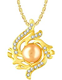 VK Jewels Pearl Studded Gold And Rhodium Plated Alloy CZ American Diamond Pendant With Chain For Women [VKP2727G]