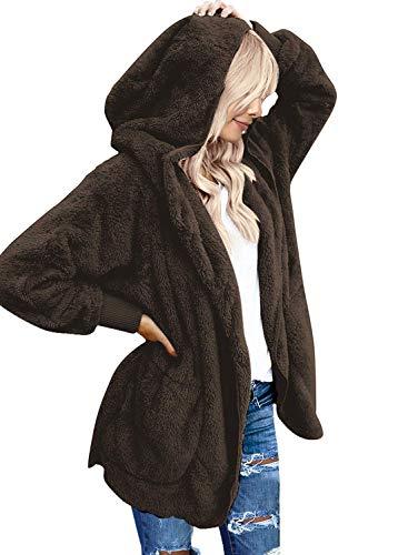 Roskiki Übergroße Drapierte Damen Strickjacke mit Kapuze und Taschen, offene Vorderseite Braun X-Large -