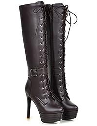 a276c3b29 Xianshu Mujers Plataforma Botas Con Cordones Con Cremallera Rodilla Zapatos  de Tacón Alto