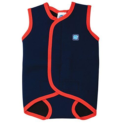 Splash About - Mini Wetsuit - Ârmelloser Neopren Baby Schwimmanzug, Blau(Marine/Rot), Small (Gr. 56-62; 0-6 Monate)