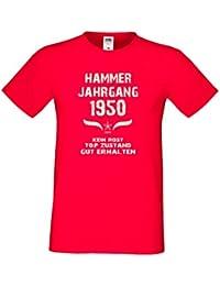 Fun T-Shirt Tolles Geschenk zum 67. Geburtstag Hammer Jahrgang 1950 Qualitativ Hochwertig Formschöm-angehnem zu tragen Farbe: rot