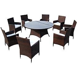 Baidani Gartenmöbel-Sets 10d00010.00002 Designer Lounge-Garnitur Rondo, 1 Tisch mit Glasplatte, 8 Stühle, Sitzauflagen braun