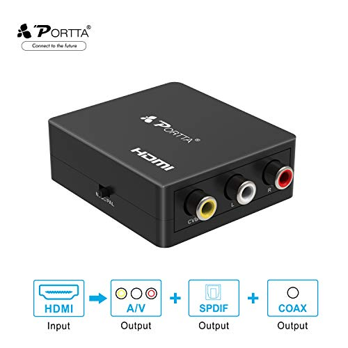 Portta HDMI zu AV Konverter HDMI zu Composite 3RCA CVBS Video Converter Adapter mit Audio Toslink Spdif Koaxial Adapter Unterstützung 720p 1080p PAL/NTSC für Laptop Xbox PS4 PS3 TV STB VCR Kamera DVD Koaxial-video-adapter