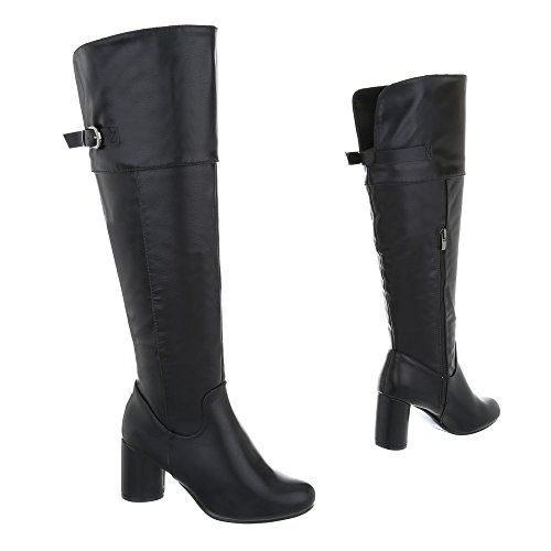 Ital-Design High Heel Stiefel Damenschuhe High Heel Stiefel Pump High Heels Reißverschluss Stiefel Schwarz