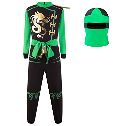 Japan In Kostüme (Katara 1771 - Ninja Kostüm Anzug – Kinder Jungen-Verkleidung zum Fasching, Karneval – Kids Kampf-Onesie Overall Outfit für Jungs und Echte Krieger, Grün, Größe M (122/128/134),)