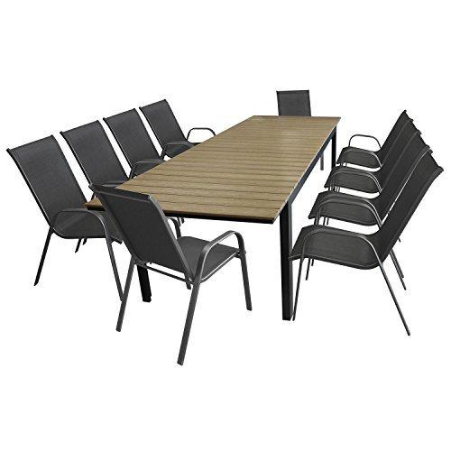 11tlg. Gartengarnitur Gartenmöbel Set Aluminium Polywood Ausziehtisch Gartentisch 280/220x95cm + 10x Stapelstuhl Textilenbespannung - Sitzgarnitur Sitzgruppe