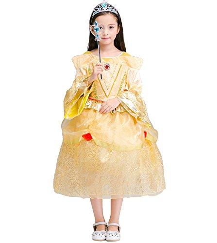 Preisvergleich Produktbild Das beste Gelb Belle Kostüm Kinder Glanz Kleid Mädchen Rollenspiele Weihnachten Verkleidung Karneval Party Halloween Fest