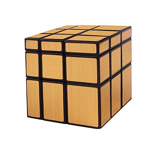 FunnyGoo Fangge YuXin Mirror Block Puzzle yuxin 3x3x3 espejo irregular velocidad mágica cubo torcido Magic Toy Magic (negro con pegatinas de oro)