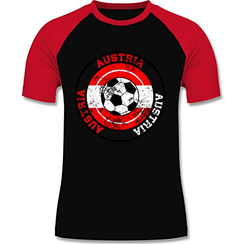 EM 2016 - Frankreich - Austria Kreis & Fußball Vintage - zweifarbiges Baseballshirt für Männer Schwarz/Rot