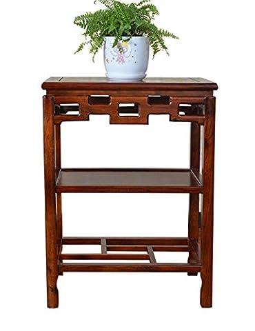 simple Simple antique en bois massif cadre rectangulaire fleur chlorophytum bonsai palnt titulaire orme stand table basse poissons base de réservoir en pierre de base Simple étagère de pot de fleur