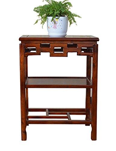 QianDa Etagère à fleurs Simple antique en bois massif cadre rectangulaire fleur chlorophytum bonsai palnt titulaire orme stand table basse poissons base de réservoir en pierre de base