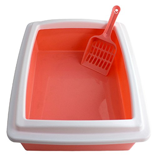 Zhuhaitf Cat Supplies Cat Plastic Litter Tray Mülleimer Potty Toilet with Scoop with rim - 40*31*12cm (Rim-trainer)