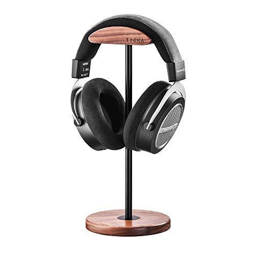 Kopfhörer Ständer, TYCKA Stilvolle Kopfhörerhalterung Kopfhörerständerständer Aluminium Tragestange Flexible Kopfstütze Naturwalnuss Holz Kopfstütze und Sockel für alle Kopfhörergrößen -