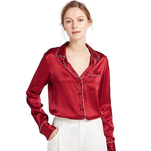 LILYSILK Chemisier Femme en Soie, Manches Longues, Chemise Chic avec Liserés Contrastants Style de Pyjama mais en Journée 18 Momme Rouge Vineux