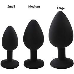 Anal Butt Plug Set, Silikon-Masturbation, 3 Stück,Black
